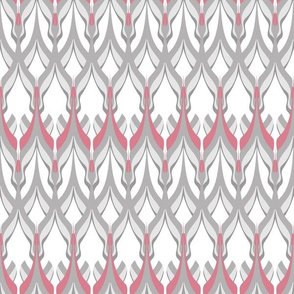 Zigzag white grey and pink hues .
