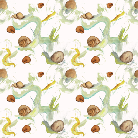 Snails and Slime Challenge Entry fabric by suzzincolour on Spoonflower - custom fabric