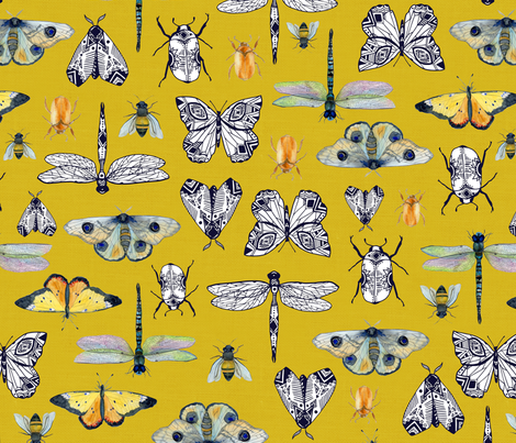 Insectopia Mustard fabric by katebillingsley on Spoonflower - custom fabric