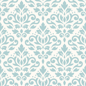Scroll Damask Pattern Blue on Cream