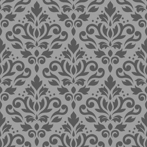 Scroll Damask Pattern Mid on Lt Gray