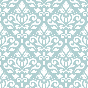 Scroll Damask Pattern White on Blue