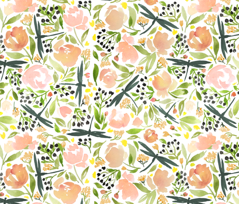 Dragonflies and tea roses fabric by laurawrightstudio on Spoonflower - custom fabric