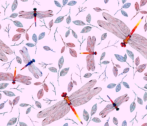 Pink Dragonfly fabric by poulin on Spoonflower - custom fabric