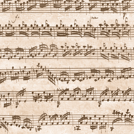 Bach's handwritten sheet music - seamless, natural brown fabric by weavingmajor on Spoonflower - custom fabric