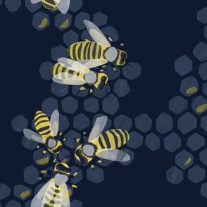 Bee Nice Blue Watercolour