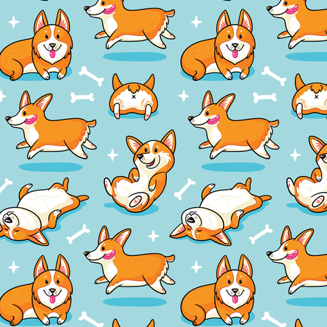 Corgi fabric by penguinhouse on Spoonflower - custom fabric