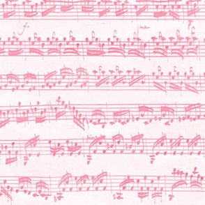 Bach's handwritten sheet music - seamless, pink and white