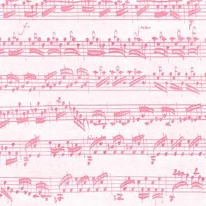 Bach's handwritten sheet music - seamless, pink and white