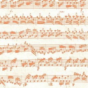 Bach's handwritten sheet music - seamless, orange and white