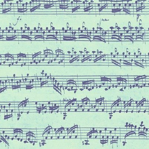 Bach's handwritten sheet music - seamless - purple, mint and pale green
