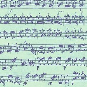 Bach's handwritten sheet music - seamless - purple, mint and pale green
