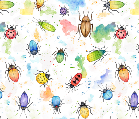 Whimsical Watercolour Beetles fabric by hazelfishercreations on Spoonflower - custom fabric