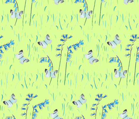 Butterflies_and_bluebells fabric by amanda_jane_textiles on Spoonflower - custom fabric