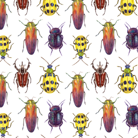 watercolor bright beetles fabric by alenaganzhela on Spoonflower - custom fabric