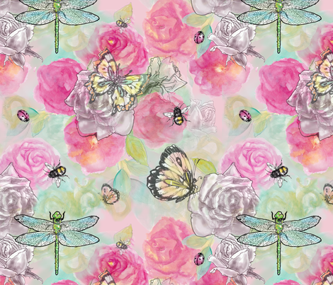 insects_on_pink fabric by mahoneybee on Spoonflower - custom fabric