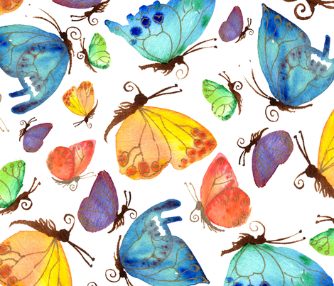 Flitting butterflies fabric by spikeabell on Spoonflower - custom fabric