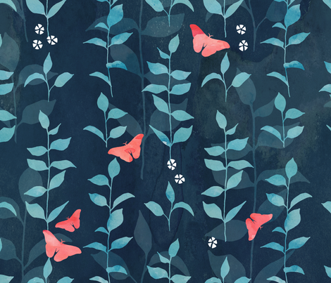 Midnight garden fabric by adenaj on Spoonflower - custom fabric