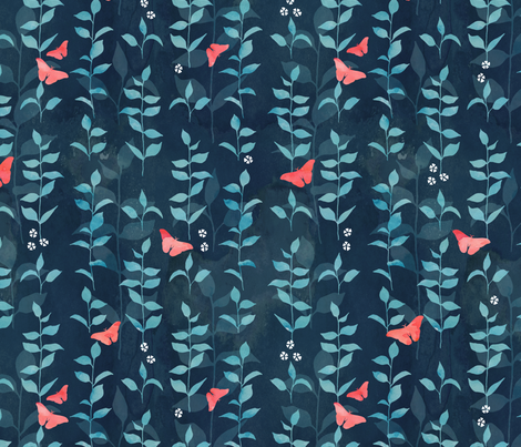 Midnight garden fabric by adenaj on Spoonflower - custom fabric