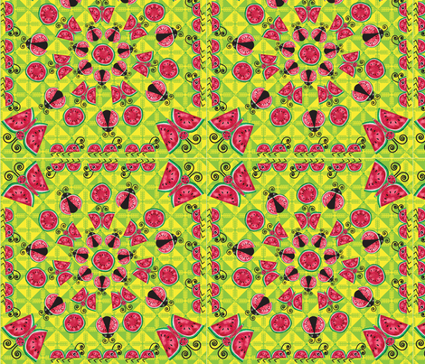 Watermelon Insects fabric by tomokosart on Spoonflower - custom fabric