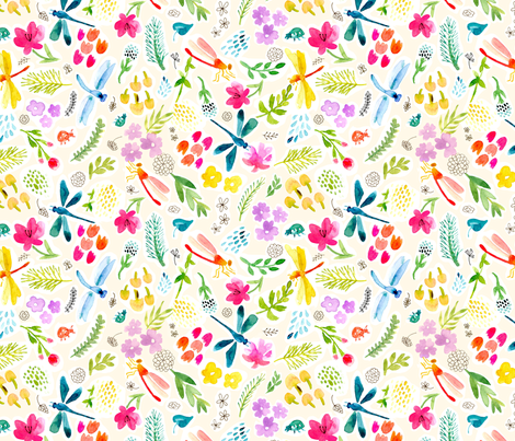 Dragonfly Garden fabric by chickadeedeedee on Spoonflower - custom fabric