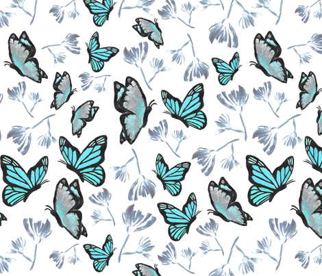 Watercolor_Butterfly_Painting_4 fabric by boissindesign on Spoonflower - custom fabric