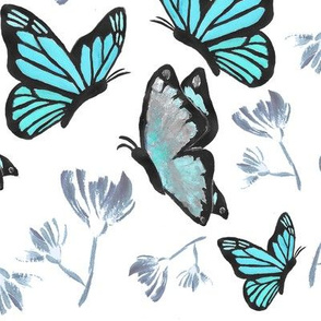 Watercolor Butterfly Painting (Turquoise, Blue)