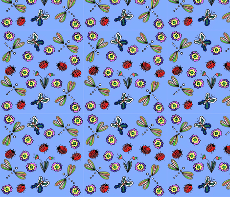 Insect_Flowerway fabric by dale_ramirez on Spoonflower - custom fabric