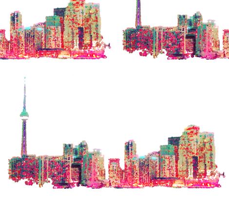 toronto skyline cityscape fabric by infiknit_fabrics on Spoonflower - custom fabric