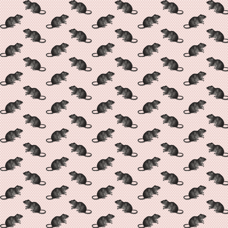 Rats on white dots pink background 3 fabric by susiprint on Spoonflower - custom fabric