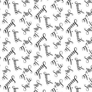 17-1AG Happy Smile Words || Mouth Calligraphy Black White Handwritten Text Font