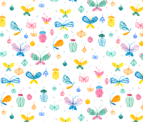 Summer is a flutter - © Lucinda Wei fabric by lucindawei on Spoonflower - custom fabric