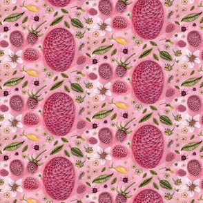 a lemon, some raspberries, and a few bugs, small scale, pink raspberry rose red green