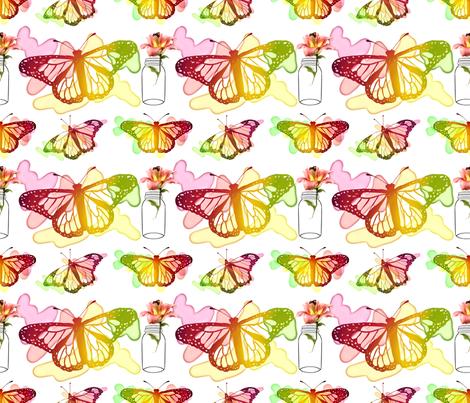 Butterflies and Lilies fabric by irishvikingdesigns on Spoonflower - custom fabric
