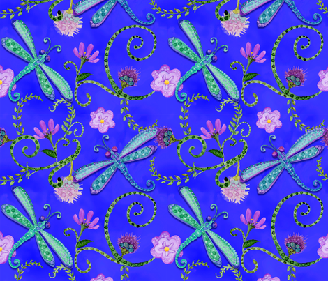 -TK-Dragonfly_Whimsical_Watercolor_Purple-1-200-8x8 fabric by doodledoer-teresakelly on Spoonflower - custom fabric