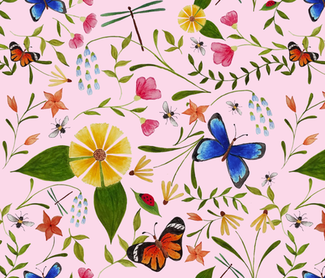 Wildflower_Friends_-_pale_pink fabric by white_tulip_designs on Spoonflower - custom fabric