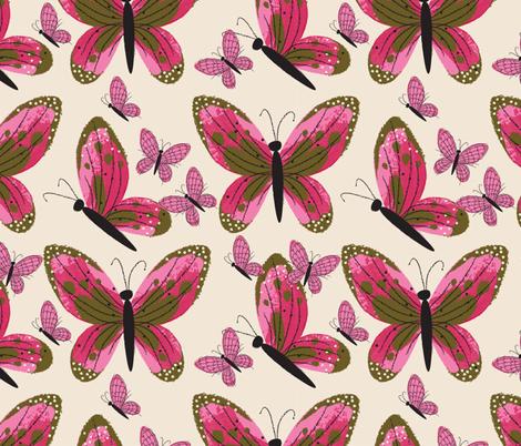 butterflies in flight ~ watercolour fabric by retrorudolphs on Spoonflower - custom fabric