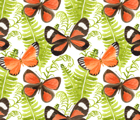 Butterflies and Ferns - large scale fabric by byre_wilde on Spoonflower - custom fabric