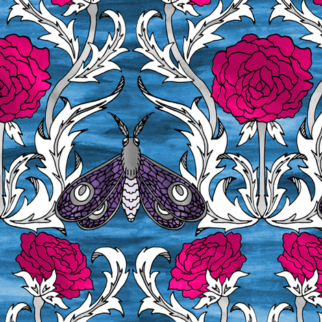 Lavender Moths and Roses fabric by pond_ripple on Spoonflower - custom fabric