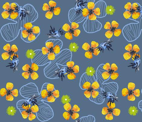 Bee Bloomers - Steel Blue fabric by sheila_marie_delgado on Spoonflower - custom fabric