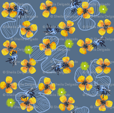 Bee Bloomers - Steel Blue
