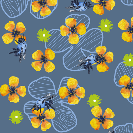 Bee Bloomers - Steel Blue fabric by sheila_marie_delgado on Spoonflower - custom fabric