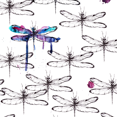 Dragonfly_black_and_white fabric by magic_pencil on Spoonflower - custom fabric