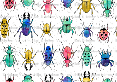 Beetles Insects in watercolor
