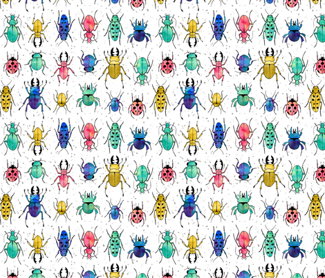 Beetles Insects in watercolor fabric by heleen_vd_thillart on Spoonflower - custom fabric