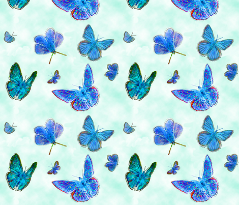 Blue watercolor butterflies fabric by galina_bolshakova on Spoonflower - custom fabric