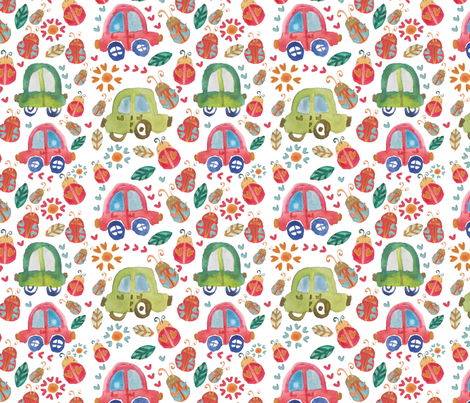 love_bug fabric by the_sunny_side_up_studio on Spoonflower - custom fabric