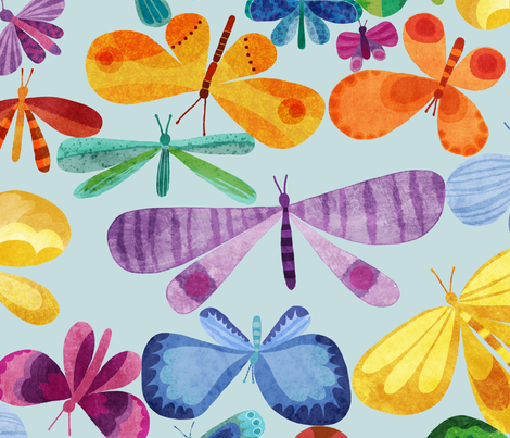 Whimsical Watercolour Butterfly Whirl fabric by stitchyrichie on Spoonflower - custom fabric