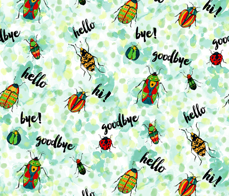 Hello, Goodbye Beetles fabric by mjmstudio on Spoonflower - custom fabric