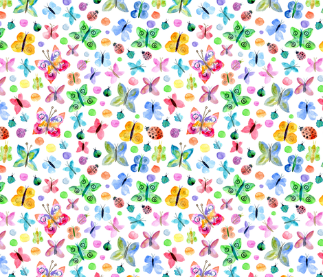 Watercolor insects fabric by graphicsdish on Spoonflower - custom fabric